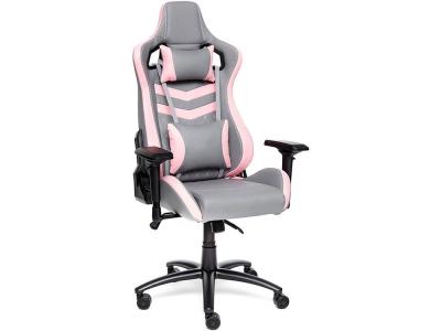 Кресло Ipinky кож.зам Серый + Розовый