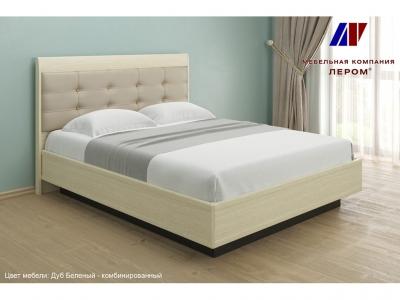 Кровать с мягким изголовьем КР-1053 1600х2000 Дуб Беленый - комбинированный