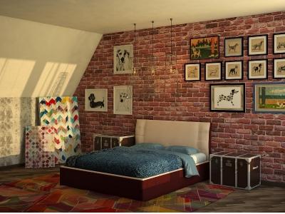 Кровать Boston бежевая спинка-коричневые царги