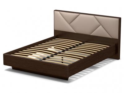 Кровать 160 Аида с основанием Венге - МДФ Орех премиум - ткань Матрикс кларити