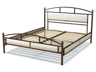 Кровать 160 Тая металлическая Венге - эко-кожа белая