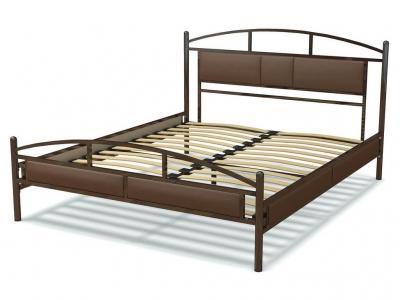 Кровать 160 Тая металлическая Венге - эко-кожа коричневая