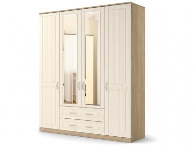 Шкаф Лаура 4-х с зеркалом с цоколем Дуб сонома - МДФ Лён жемчужный