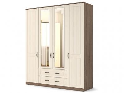Шкаф Лаура 4-х с зеркалом с цоколем Винтаж - МДФ Лён жемчужный