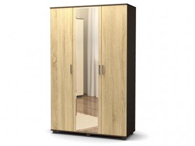 Шкаф Максим 3-х без ящиков с зеркалом Венге - Дуб сонома