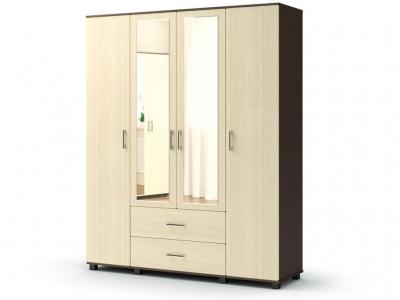 Шкаф Максим 4-х с ящиками с зеркалом Венге - Дуб млечный