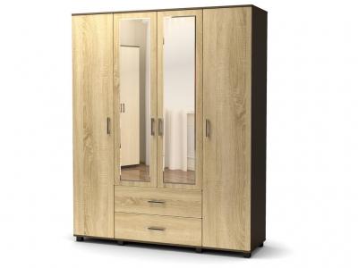 Шкаф Максим 4-х с ящиками с зеркалом Венге - Дуб сонома