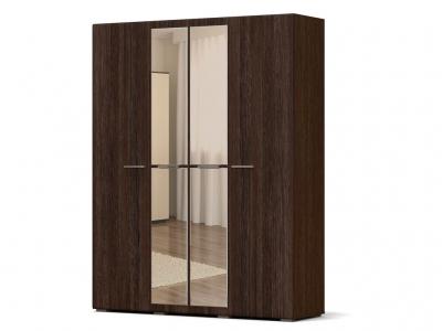 Шкаф Офелия 4-х с зеркалом Каштан - МДФ Орех премиум