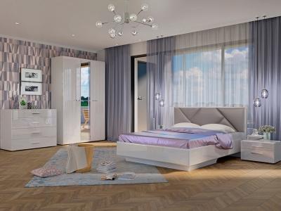 Спальня Офелия с кроватью Аида Белый - МДФ Топлёное молоко