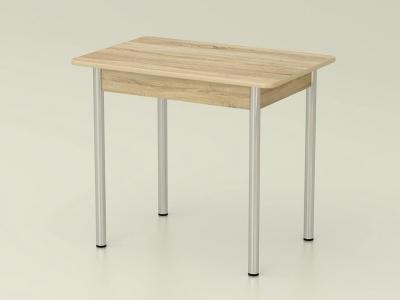 Стол обеденный закругленный Дуб сонома - ноги хром