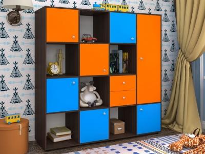 Стеллаж Джери 2 бодега-оранж-голубой