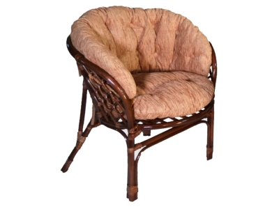 Кресло Багама молочный шоколад со светлой полной подушкой