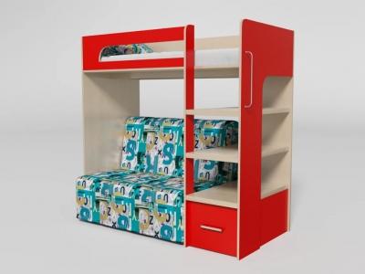 Кровать двухъярусная №10 с диваном красная
