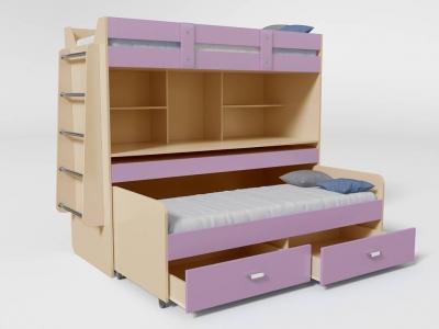 Кровать двухъярусная №2 с ящиком лиловый