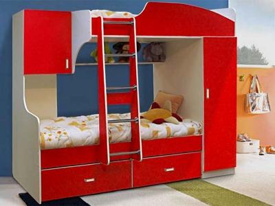 Кровать двухъярусная №4 красная
