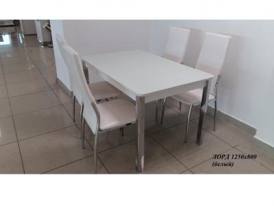 Раскладной стол со стеклом Лорд белый