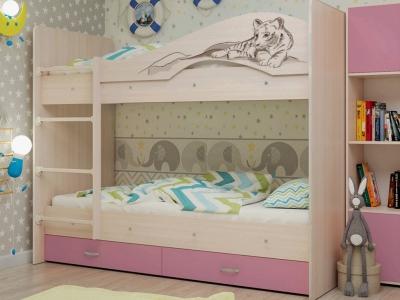 Кровать двухъярусная Мая-Сафари с ящиками дуб-розовый