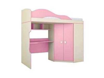 Кровать 2-х этажная со шкафом Радуга Фламинго