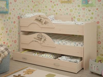 Кровать выкатная Радуга-Сафари с ящиками дуб млечный