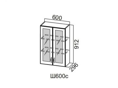 Кухня Венеция Шкаф навесной угловой со стеклом 600 Ш600ус 912х600х600мм