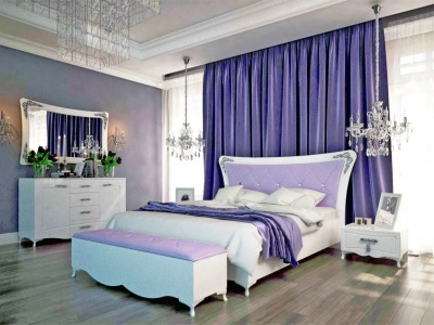 Спальня Аделина Белый глянец-Серебро