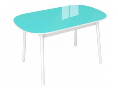Стол обеденный Винтаж с глянцевым стеклом бирюза акция