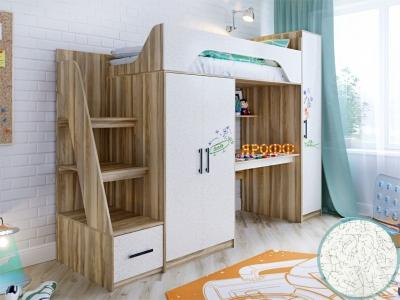 Кровать чердак Тея с пеналом фасад для рисования феритейл