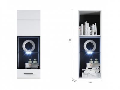 Пенал-витрина Йорк навесная (01) ЛВ Белый/белый глянец